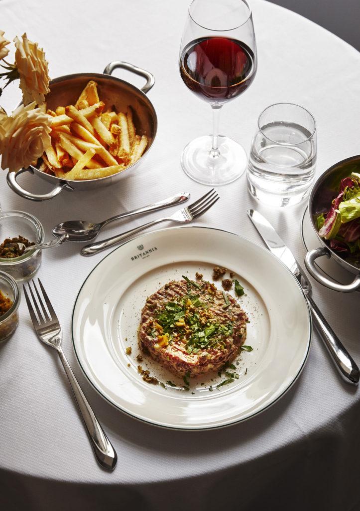 steak tartare served in Britannia Hotel's Palmehaven