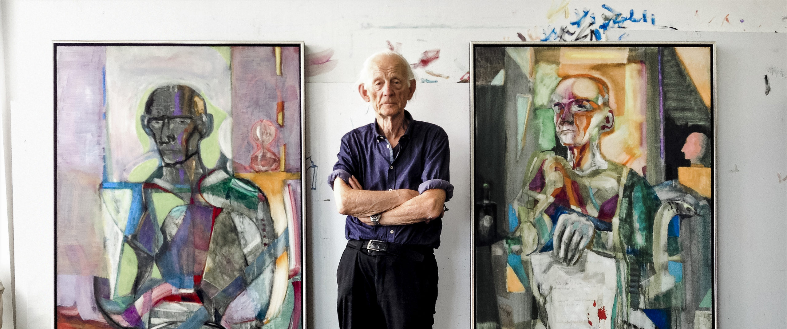 90 year old Artist Håkon Bleken in his studio.