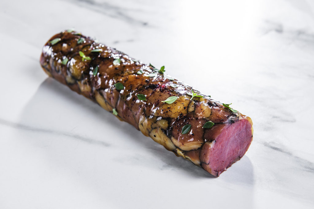 A piece of meat perfectly served at the restaurant