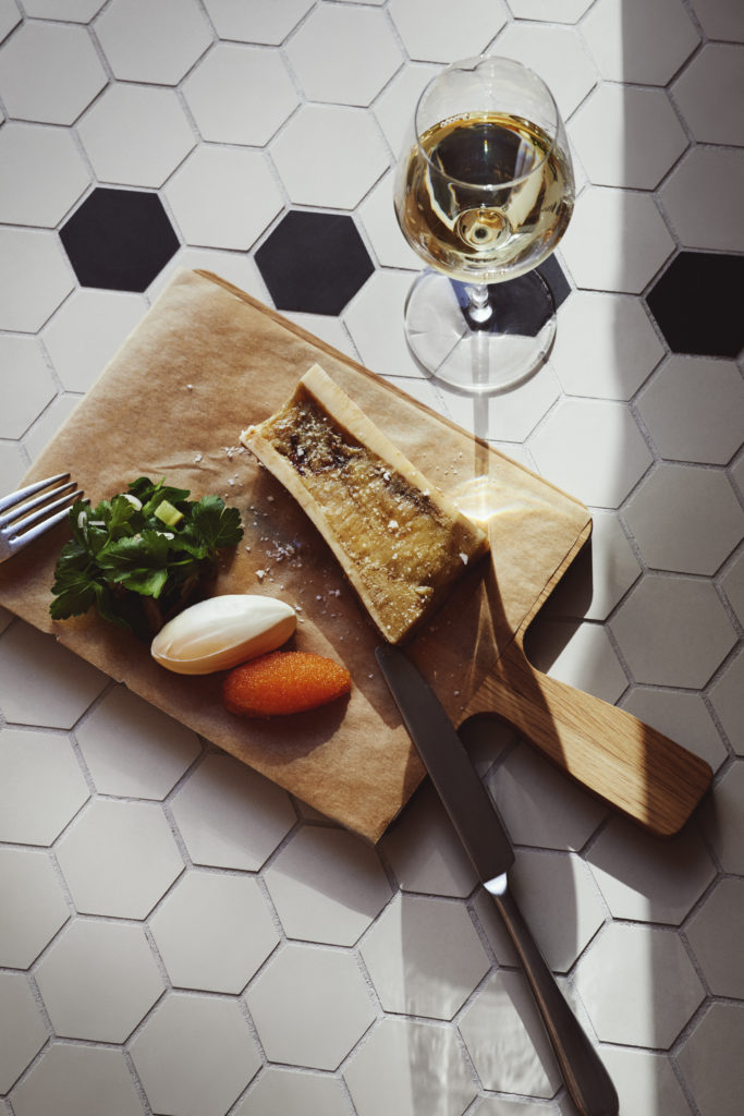 Photo of bone marrow with Røros cream and roe, served at Brasserie Britannia, pictured on tiled floor