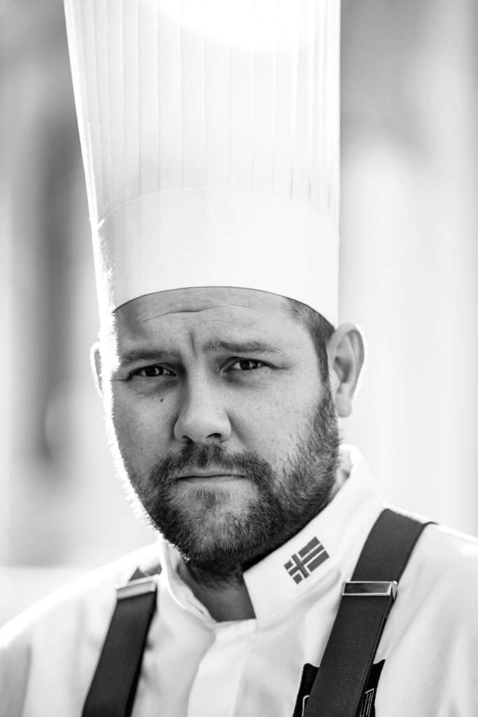 black and white portrait of Christopher Davidsen, Head Chef at Speilsalen, Britannia Hotel