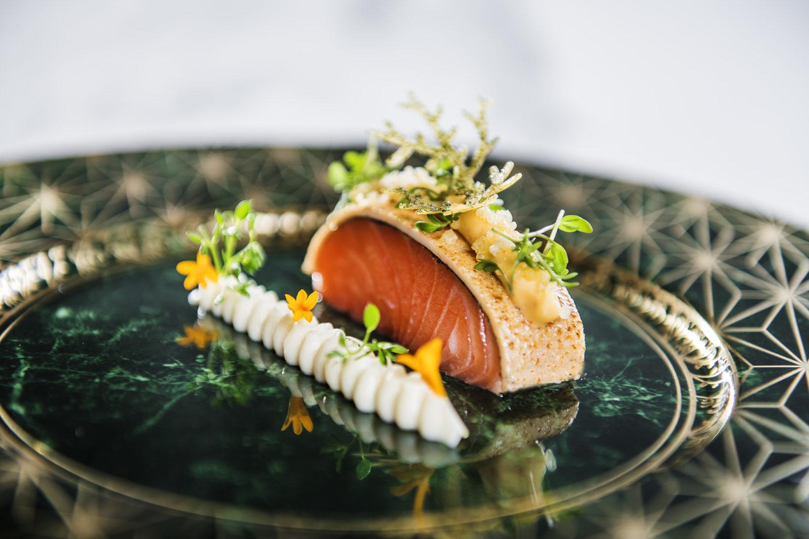 A piece of salmon served in the Michelin restaurant