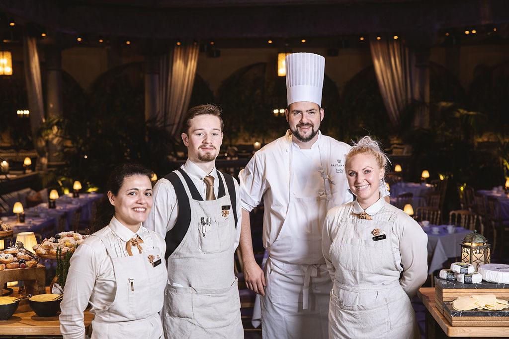 Britannia hotellfrokost team, Daniela, Odin, Øivind og Ingvild
