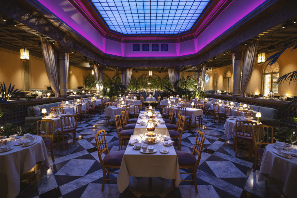 Britannia Hotel's Palmehaven set up for special serving of Afternoon Tea with ambient lighting