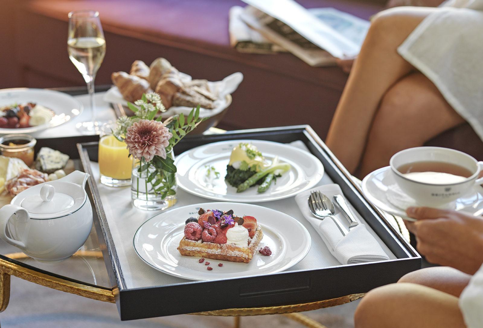 Britannia Hotel in room dining breakfast spread
