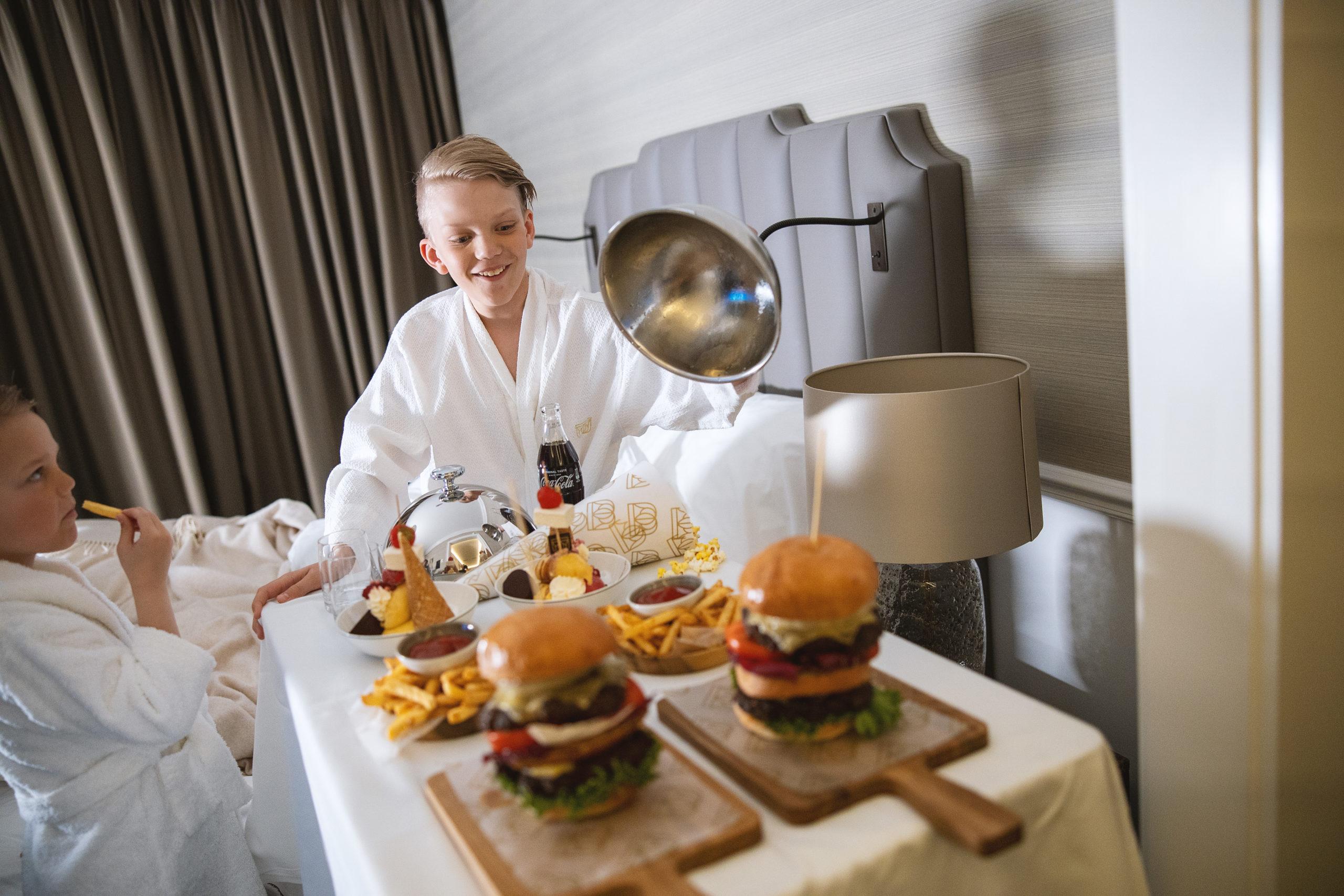 Britannia Hotel in room dining supersize burgers