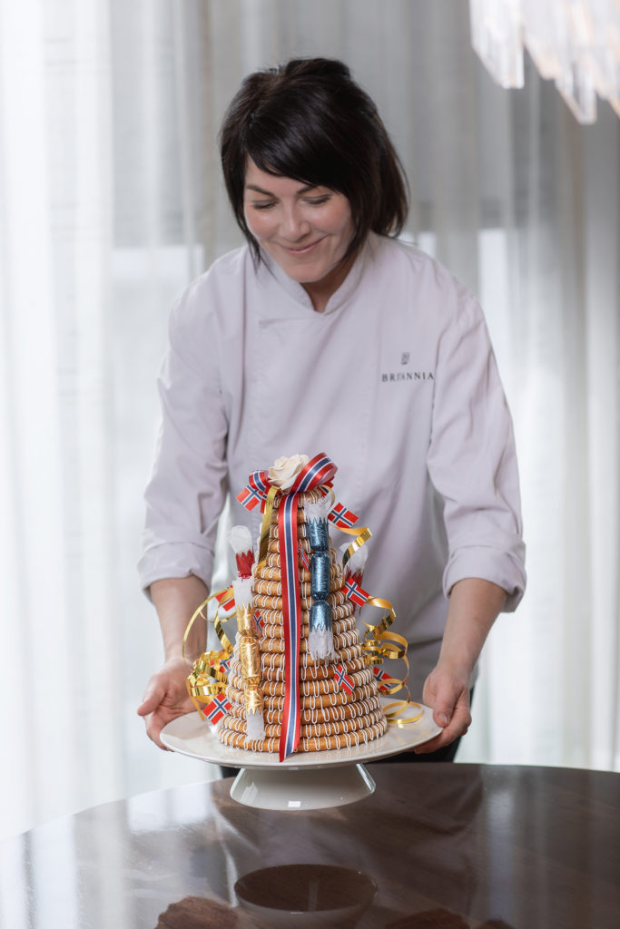 Cathrine Nilsen and her Kransekake at Britannia Hotel