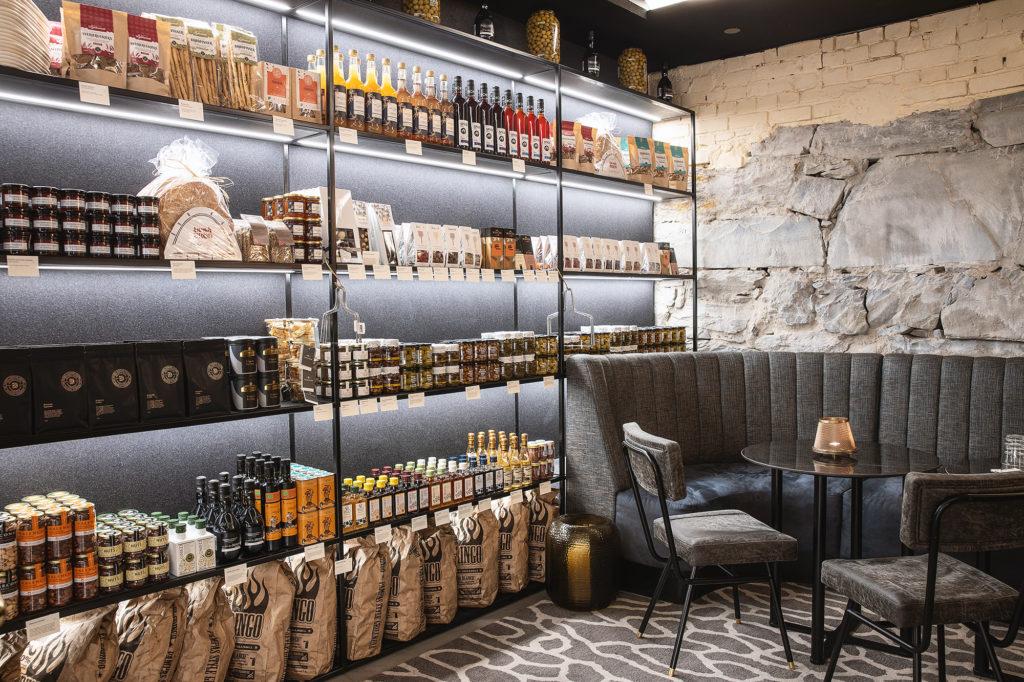 stocked shelves at Vinbaren deli, located in the basement at Britannia Hotel