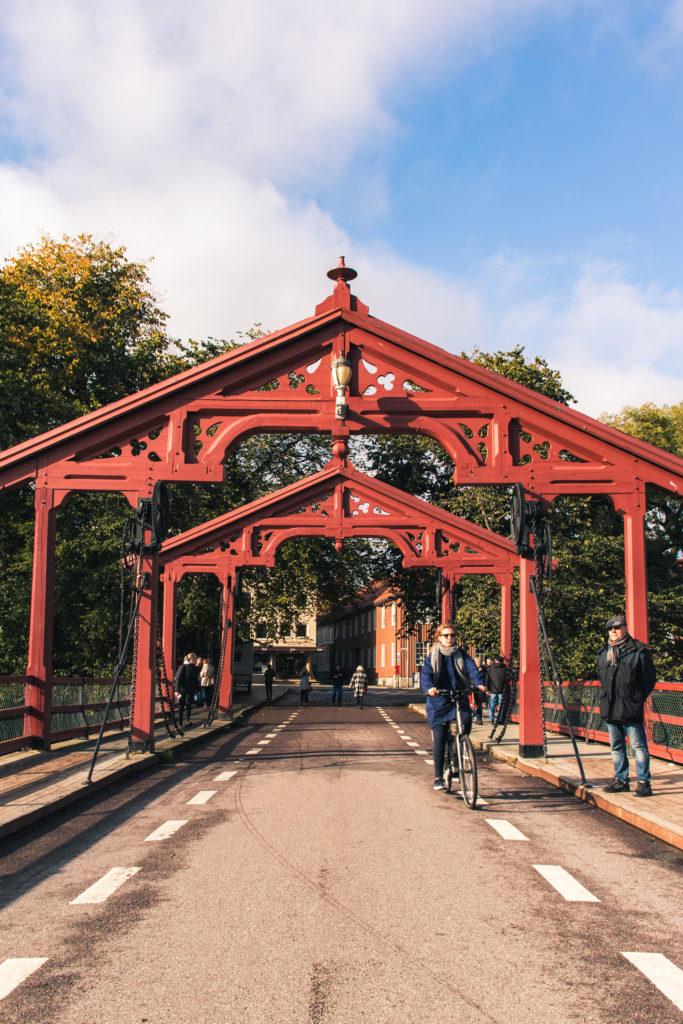 old red bridge in Trondheim