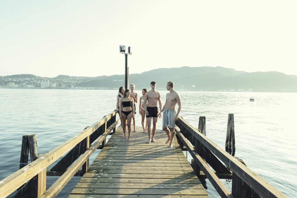 group of young people swimming in the fjord in Trondheim