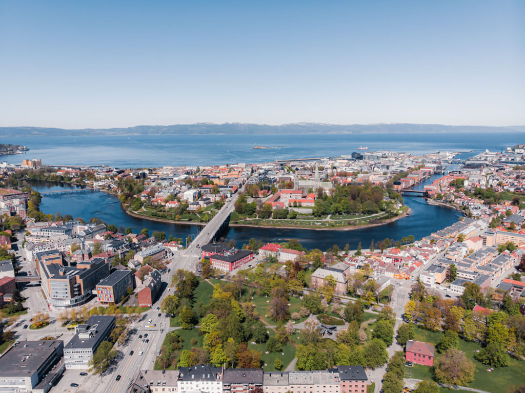 overhead shot of city scape in Norway
