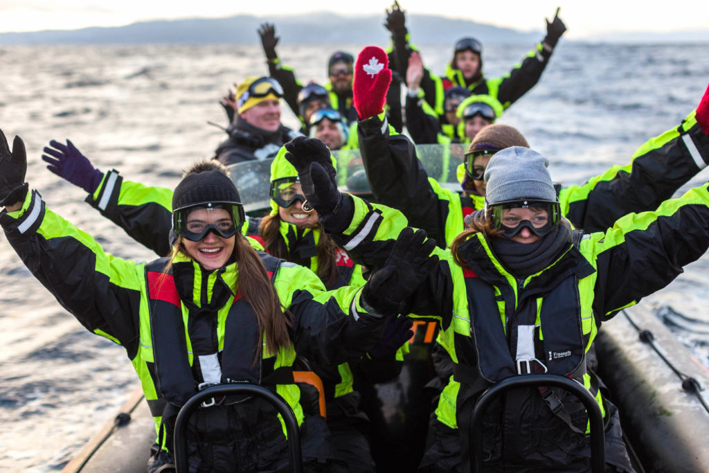 group out on RIB boat tour in Trondheim Fjord