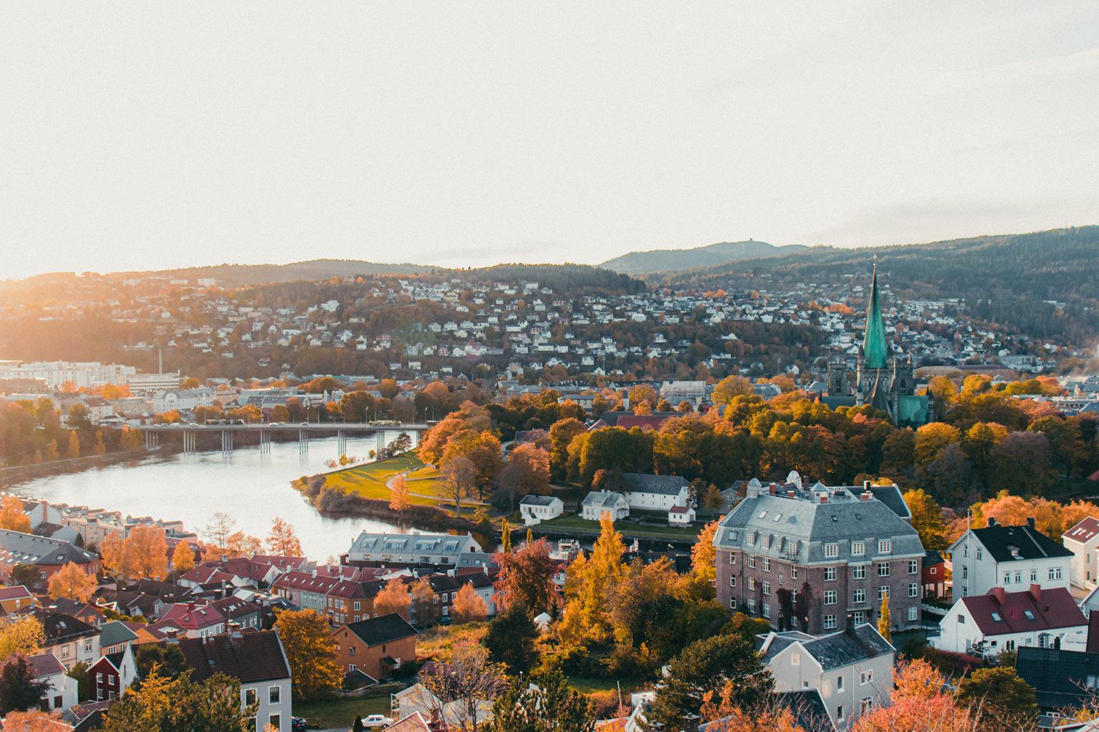 Trondheim and Nidarosdommen in autumn