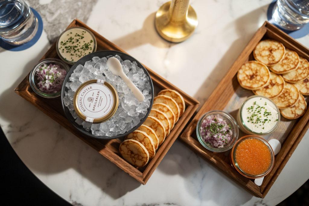 Caviar serving in Britannia Bar