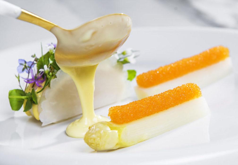 Butter Sauce being applied to Speilsalen's turbot dish